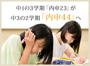 中1の3学期「内申23」が中3の2学期「内申44」へ